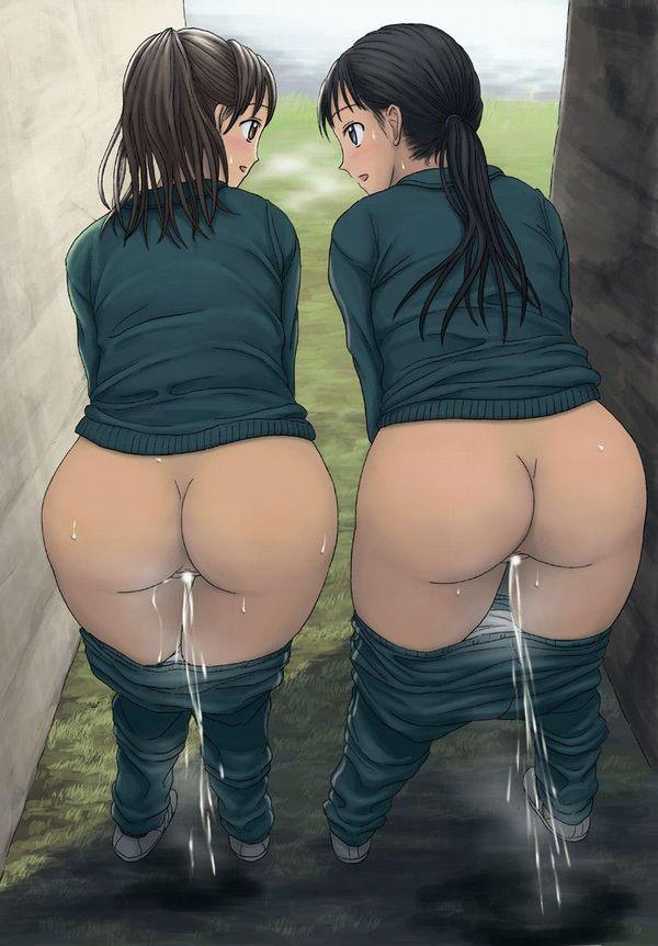 【放尿ガール】仕方なく野外でオシッコしてる二次エロ画像【4】