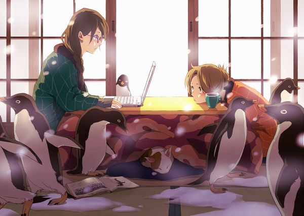 【大晦日だから】コタツでのんびりしてる女の子達の冬っぽい二次画像【37】