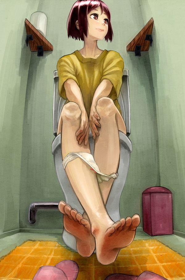 洋式トイレでオシッコしてる二次エロ画像【12】