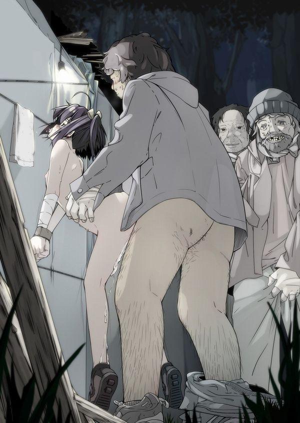 【キモ男】ホームレスとセックスしてる二次エロ画像