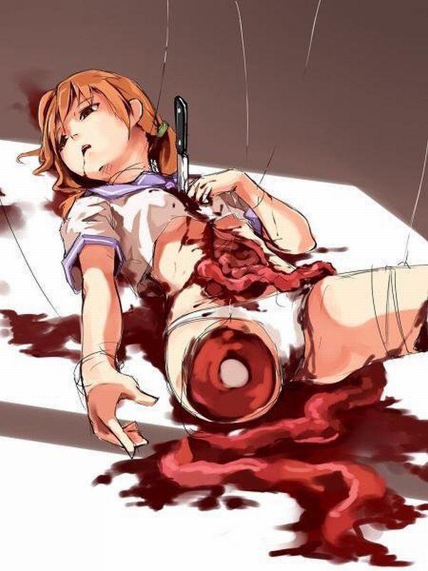 【閲覧注意】腸が超出てる二次リョナ・グロ画像【11】