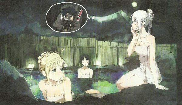 【二次】温泉で日頃の疲れを癒してる女子のエロ画像【4】
