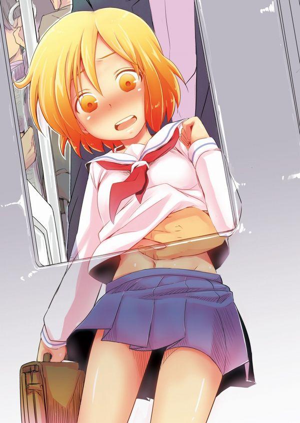 【埼●線かな?】満員電車で痴漢されてるJKの二次エロ画像【20】