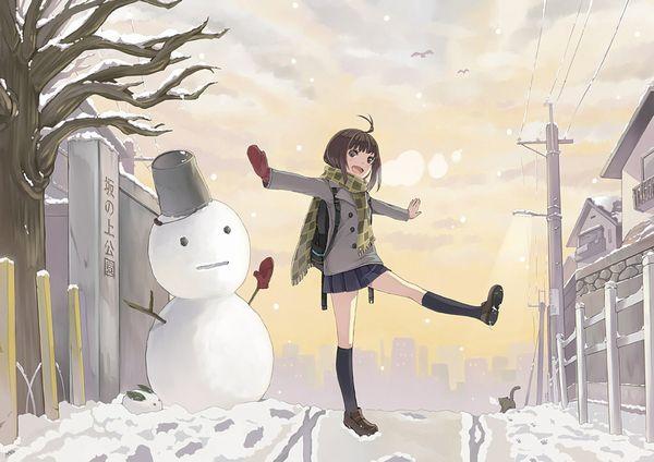 【冬の風物詩】雪だるま作ってる女子達の二次画像【1】
