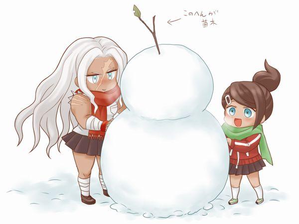 【冬の風物詩】雪だるま作ってる女子達の二次画像【19】