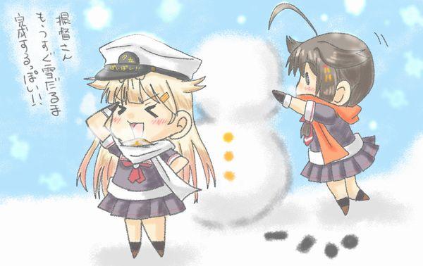【冬の風物詩】雪だるま作ってる女子達の二次画像【21】