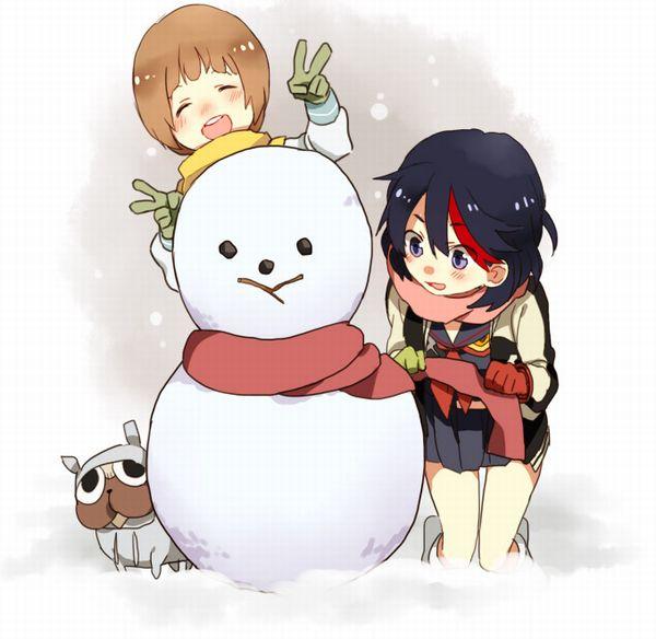 【冬の風物詩】雪だるま作ってる女子達の二次画像【33】