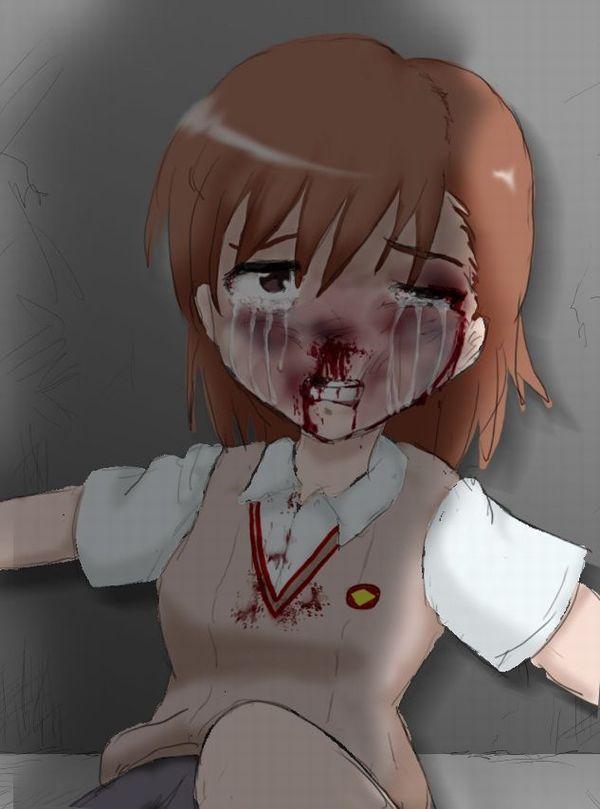 【閲覧注意】顔面ブン殴られて鼻血出してる悲惨な女子の二次リョナ画像【19】