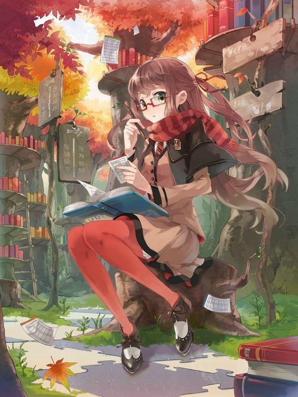 【非エロ】メガネの美少女が本を読んでる二次画像【13】