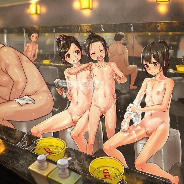 【二次】温泉・お風呂でじゃれあってる女子達のソフトなレズ画像【13】