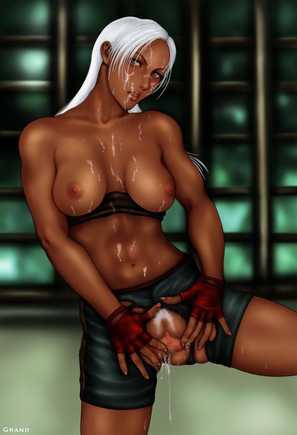 【筋肉】ボディービルダーみたいな体した筋肉質な褐色女子の二次エロ画像 【35】
