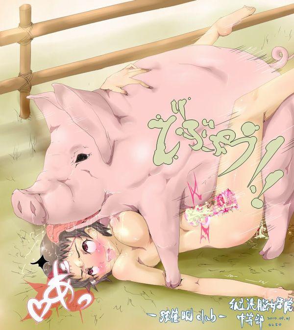 下のお口で豚さんを食べる二次獣姦画像【5】