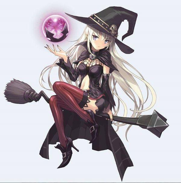 【定番】ホウキに跨ってる魔女・魔法少女の二次画像