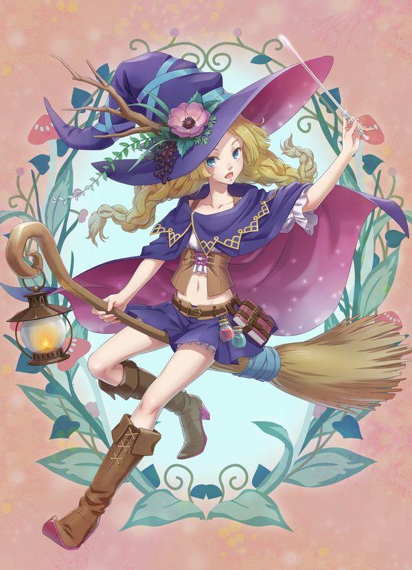 【定番】ホウキに跨ってる魔女・魔法少女の二次画像 【21】