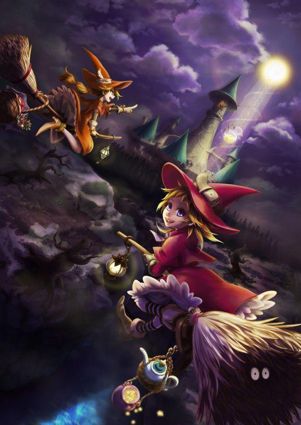 【定番】ホウキに跨ってる魔女・魔法少女の二次画像 【31】