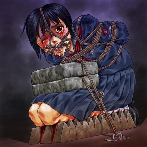 【時代劇あるある】日本でも古来より行われし拷問「石抱き」の二次リョナ画像 【12】