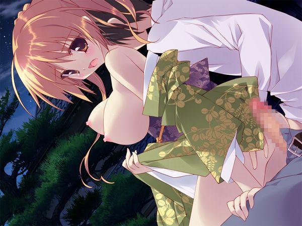 【夏はコレだよな?】夏祭りのついでに浴衣姿の彼女と青姦してる二次エロ画像 【27】