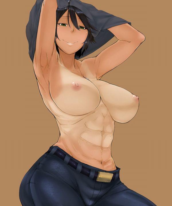 【トップレス】何故か上半身だけ裸な女子達の二次エロ画像