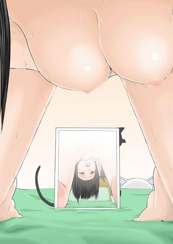 【オカズは自分】鏡にマンコ映してオナニーしてる二次エロ画像【14】