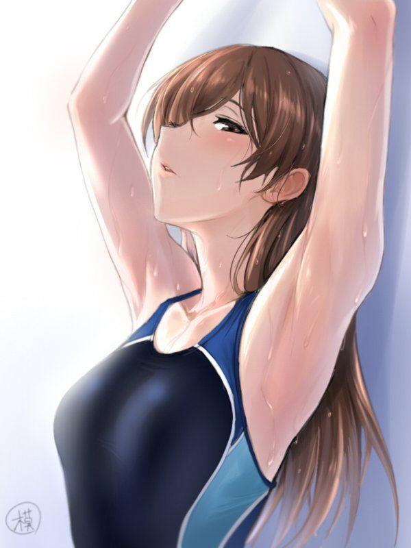【夏】おっぱいよりも腋に目が行く水着女子の二次エロ画像【36】
