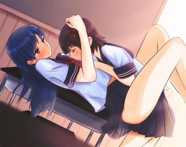 【女子校あるある】学校内でレズってるJKカップルの二次エロ画像【4】