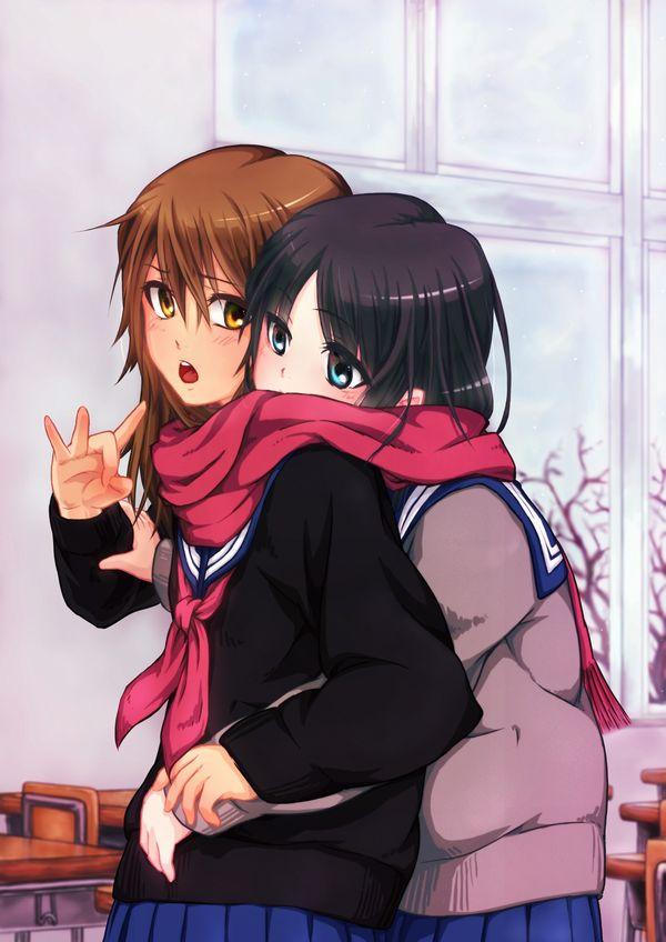 【女子校あるある】学校内でレズってるJKカップルの二次エロ画像【8】