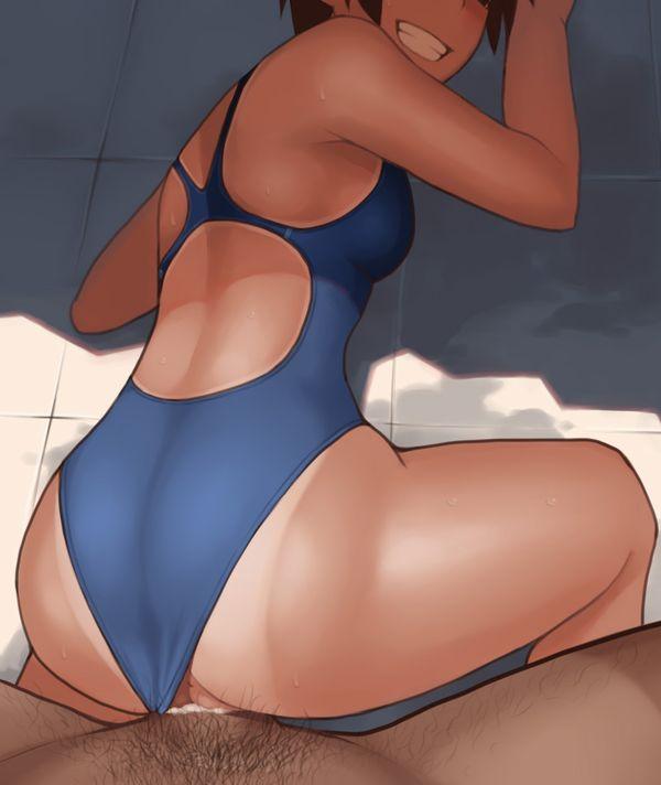 【ずらしハメ】競泳水着の子と着たままセックスしてる二次エロ画像【8】