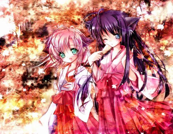 【紅葉】秋っぽい風景と美少女達の二次画像 【39】