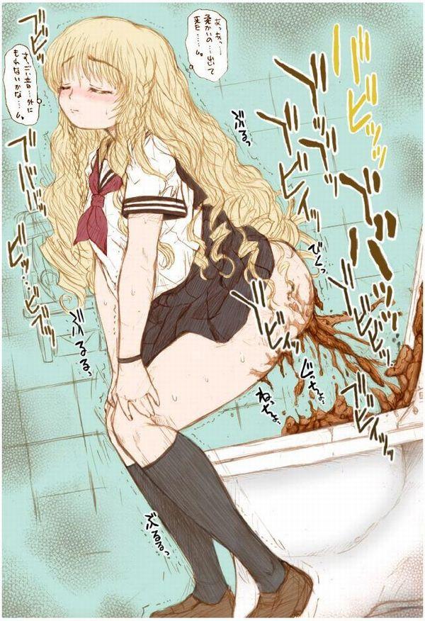 【脱糞】女の子がトイレでウンチしてる排泄二次エロ画像 【33】