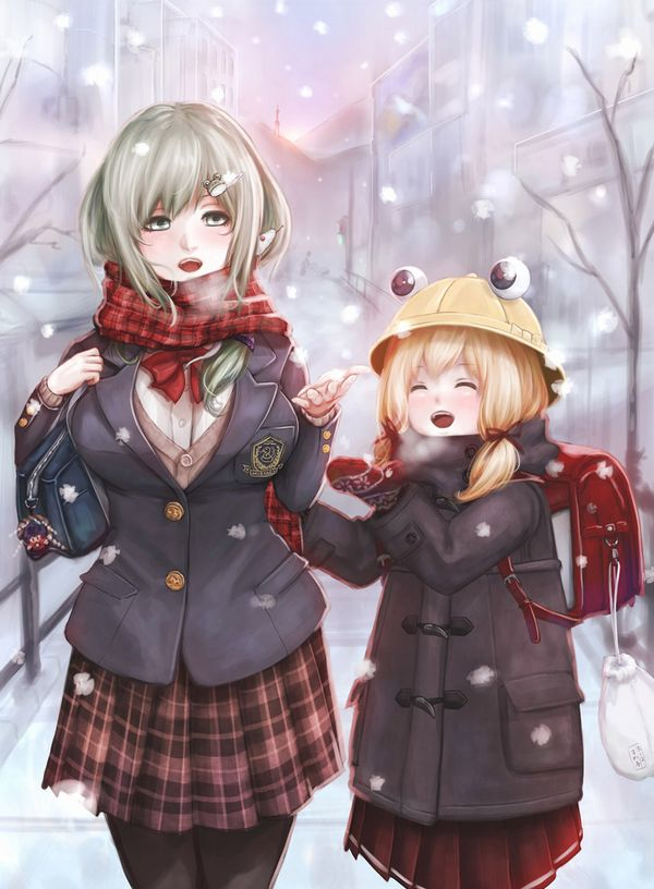 【防寒はバッチリ】冬に登下校する女子高生達の二次画像 【33】