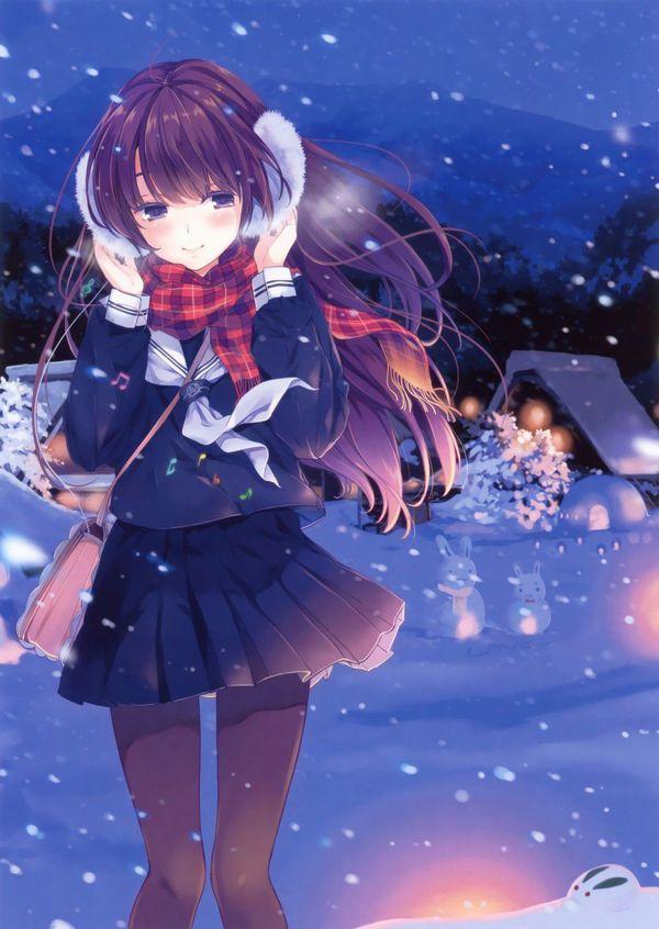 【防寒はバッチリ】冬に登下校する女子高生達の二次画像 【34】