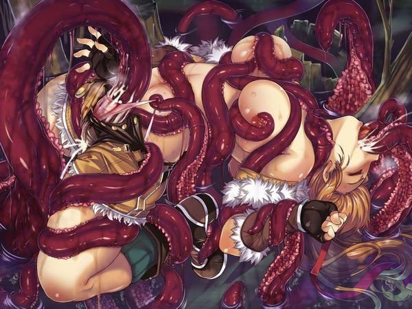 【女体と魚介の合わせ技】蛸っぽい触手に犯されてる二次エロ画像 【17】