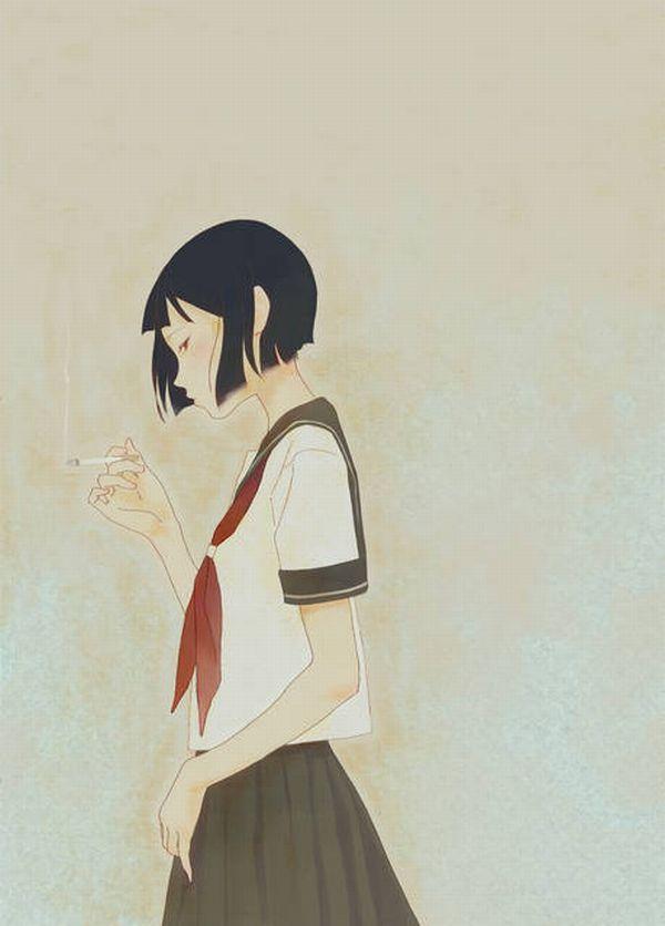 【ちょっと一服】タバコ吸ってる女の子の二次画像 【13】