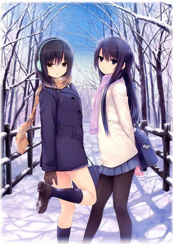 【雪・・強くなってきたな・・】雪の日でも真面目に学校に通う女子高生の二次画像