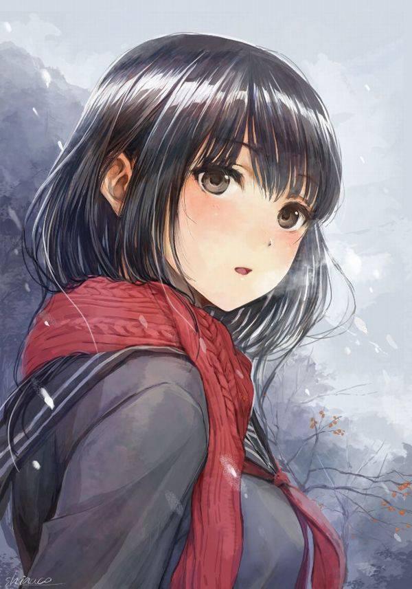 【雪・・強くなってきたな・・】雪の日でも真面目に学校に通う女子高生の二次画像 【13】