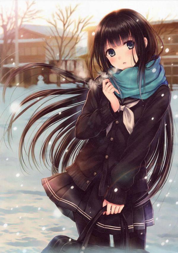 【雪・・強くなってきたな・・】雪の日でも真面目に学校に通う女子高生の二次画像 【16】