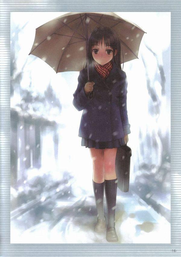 【雪・・強くなってきたな・・】雪の日でも真面目に学校に通う女子高生の二次画像 【33】