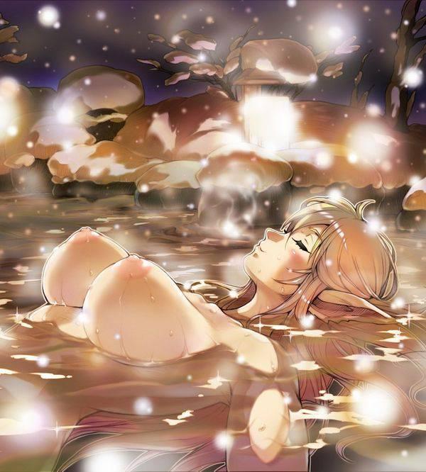 【風流】雪景色の中、露天風呂を楽しむ二次エロ画像 【8】