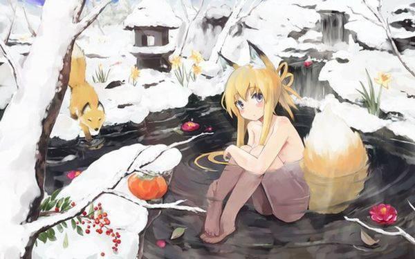 【風流】雪景色の中、露天風呂を楽しむ二次エロ画像 【26】