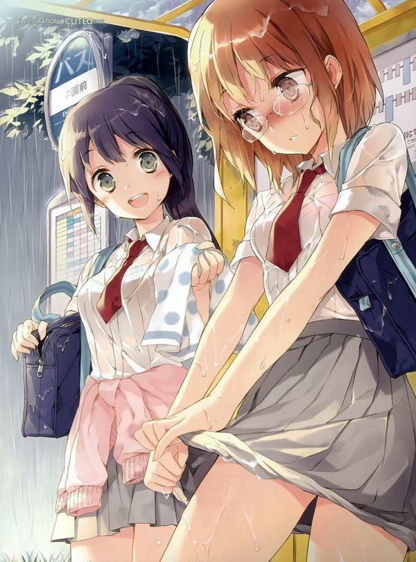 【濡れ濡れJK】雨に濡れた女子高生達の二次エロ画像 【12】