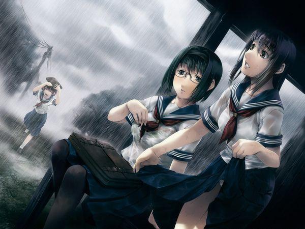 【濡れ濡れJK】雨に濡れた女子高生達の二次エロ画像 【17】