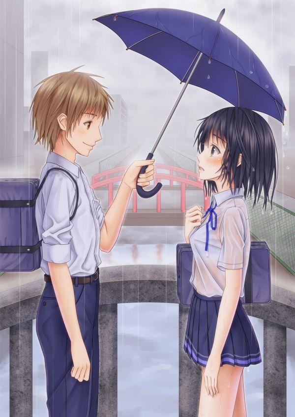 【濡れ濡れJK】雨に濡れた女子高生達の二次エロ画像 【24】