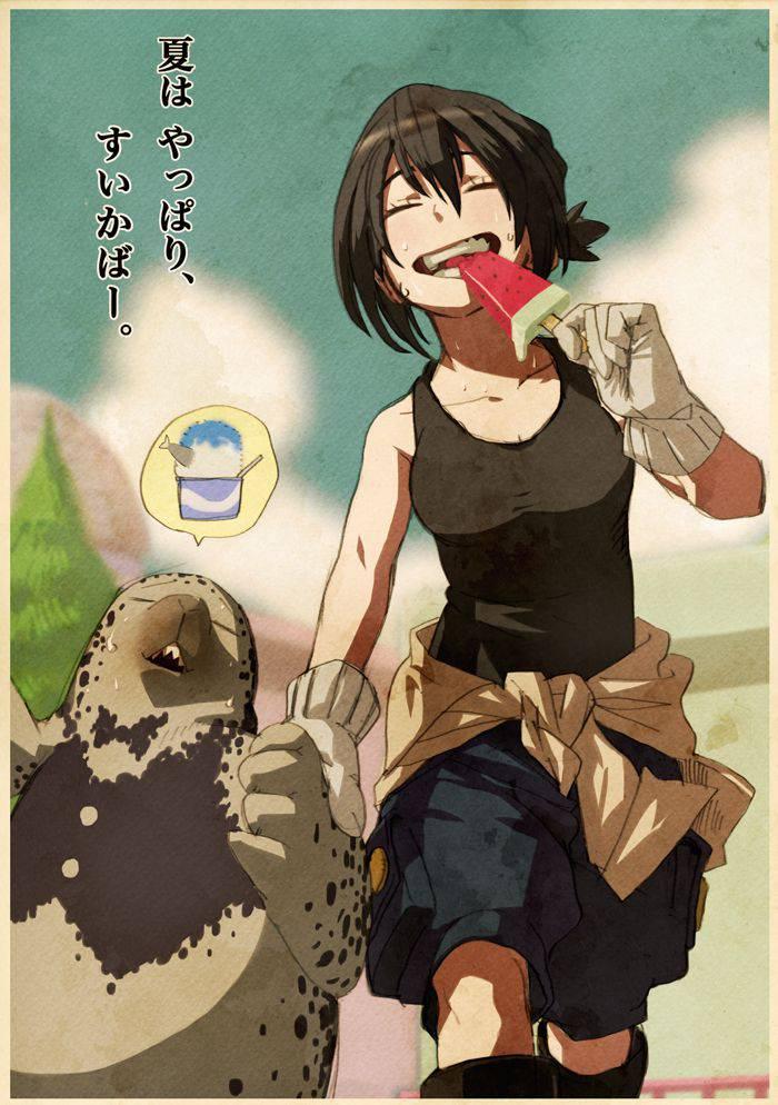 【定番のアイス】スイカバー食べてる女の子達の二次画像【1】