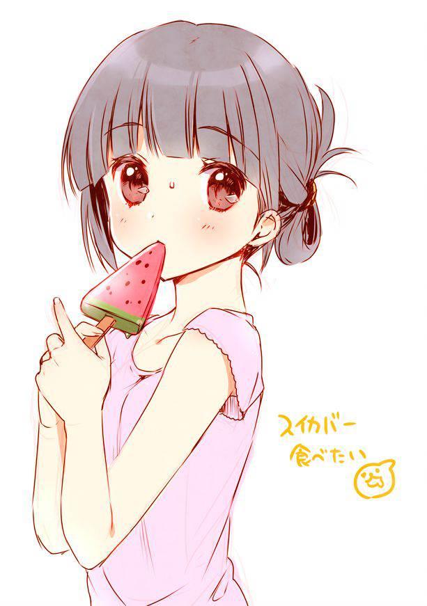 【定番のアイス】スイカバー食べてる女の子達の二次画像【17】