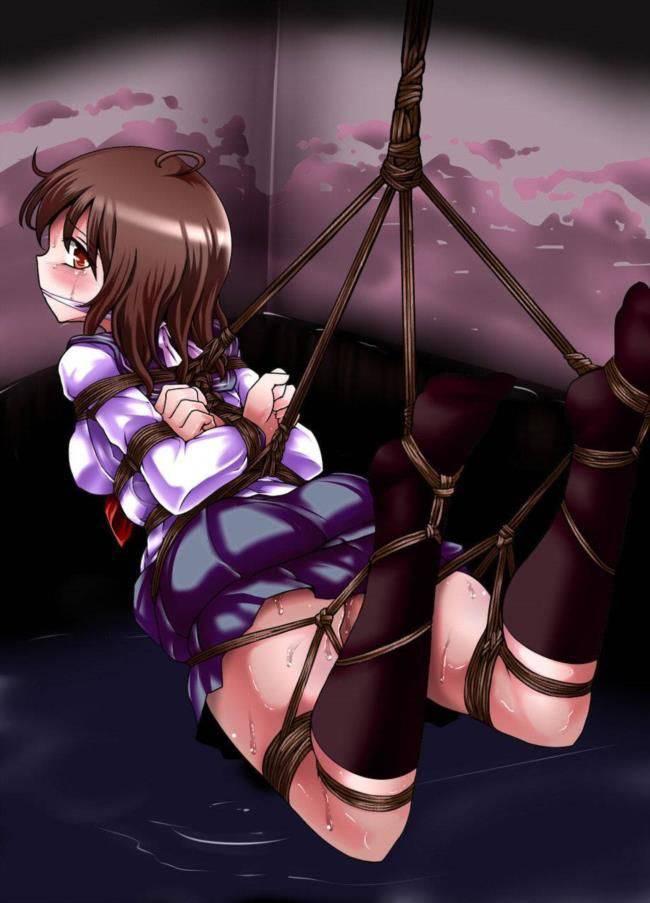 【高難易度】「これはくのいちでも縄抜け無理だな・・・」って位ギッチギチに縛られてる女子達の二次拘束・緊縛エロ画像【1】