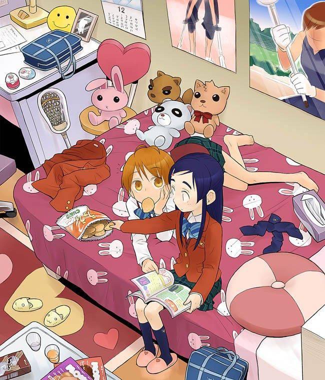 【最近だらしねぇな】散らかったベッドの上でくつろぐ女子達の二次画像【22】