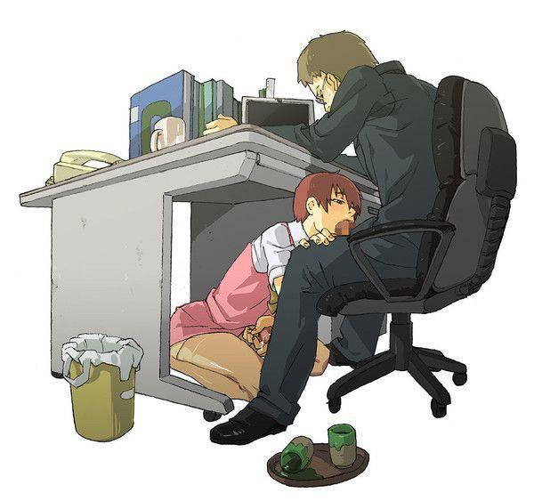【社会人あるある】秘書とか部下に机の下でフェラチオさせてる二次エロ画像【15】