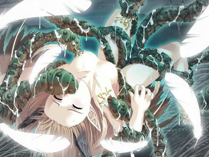 【ヌルヌル】触手に陵辱されてる二次エロ画像【4】