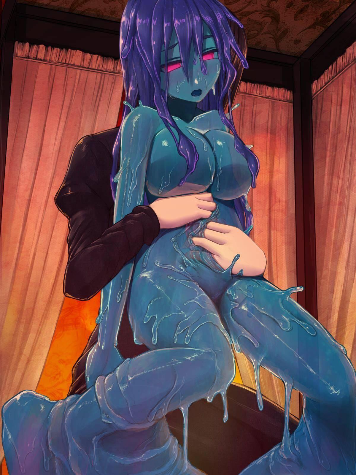 【軟体生物】青いスライム娘の二次エロ画像【9】