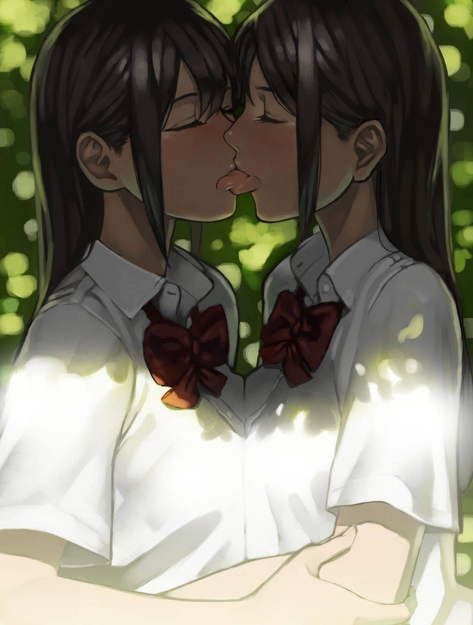 【ペッティング】女の子同士で濃厚なキスをしている二次エロ画像【2】